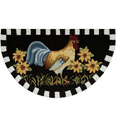 Nourison® Black Rooster Hand-Hooked Wedge Rug