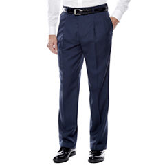 Stafford® Travel Sharkskin Pleated Dress Pants - Classic