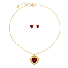 Monet Red Goldtone Necklace And Earring Set