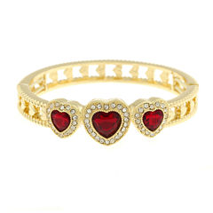 Monet Red And Goldtone Stretch Bracelet