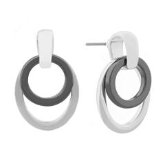 Liz Claiborne Door Knocker Earring Slvertone Hematite
