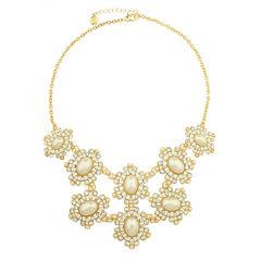 Monet Jewelry White And Goldtone Drama Necklace