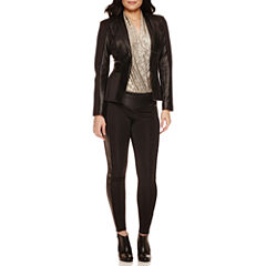 Bisou Bisou® Long Sleeve Seamed Jacket, Surplice Sleeveless Bodysuit & Solid Ponte Piped Leggings