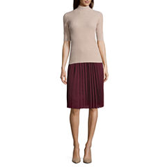 Funnel Sweater and Pleated Soft Skirt