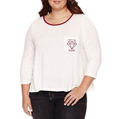 Embossed 3/4 Sleeve T-Shirt-Womens Juniors Plus