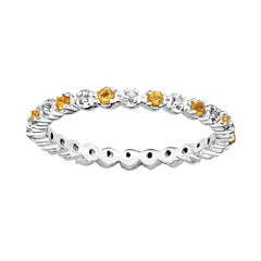 Personally Stackable Genuine Citrine & Diamond-Accent Eternity Ring