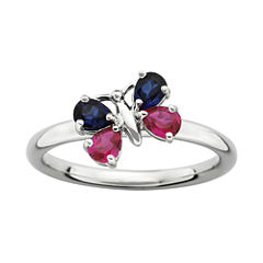 Personally Stackable Lab-Created Ruby and Blue Sapphire Butterfly Ring