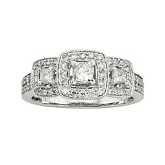 1 CT. T.W. Certified Diamond 14K White Gold 3-Stone Bridal Ring