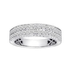 1 CT. T.W. Certified Diamond 14K White Gold Vintage-Style Wedding Band