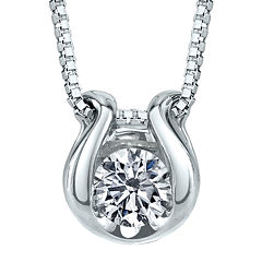 Sirena® 1/12 CT. T.W. Diamond Solitaire 14K White Gold Pendant Necklace