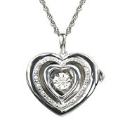Love in Motion™ 1/10 CT. T.W. Diamond Sterling Silver Heart Locket Pendant Necklace