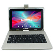 LINSAY® New 10.1'' Quad Core 1024x600HD 8GB Tablet with Silver Leather Keyboard Case