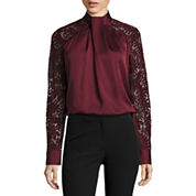 Worthington Long Sleeve Mock Neck Lace Blouse