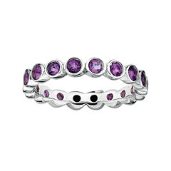 Personally Stackable Genuine Amethyst Sterling Silver Eternity Ring
