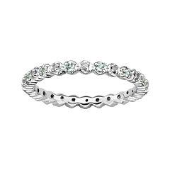 Personally Stackable Genuine Aquamarine & Diamond-Accent Eternity Ring