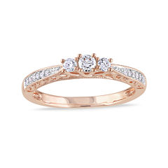 1/4 CT. T.W. Diamond 10K Rose Gold Vintage-Style 3-Stone Promise Ring