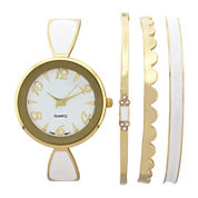 Womens White Bangle Watch and Bracelet Set
