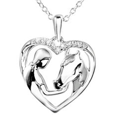 ASPCA® Tender Voices™ Diamond-Accent Woman & Horse Heart Pendant Necklace