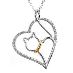 ASPCA® Tender Voices™ 1/10 CT. T.W. Diamond Cat Heart Pendant Necklace