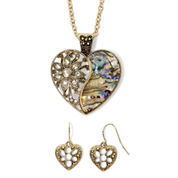 Mixit™ Crystal-Accent Abalone-Look Heart Earring and Pendant Necklace Set