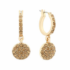 Monet Brown And Goldtone Hoop Drop Earring