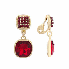 Monet Jewelry Red Goldtone Double Drop Clip Earring