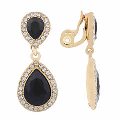 Monet Jewelry Black Goldtone Large Drop Clip Earring
