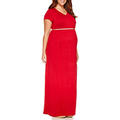 Short Sleeve Maxi Dress-Plus Maternity
