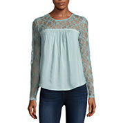 Arizona Long Sleeve Solid Peasant Top Juniors