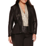 Bisou Bisou Pleather Trim Blazer Plus