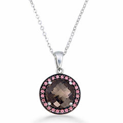 Womens Brown Quartz Sterling Silver Pendant Necklace