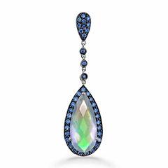 Womens White Quartz Sterling Silver Pendant Necklace