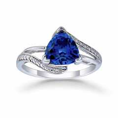 Womens Diamond Accent Lab Created Blue Sapphire Sterling Silver Bypass Ring