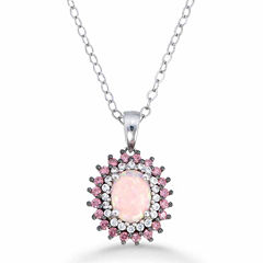 Womens Pink Opal Sterling Silver Pendant Necklace