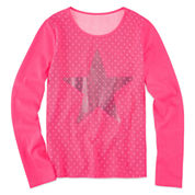 Total Girl Long Sleeve Lace Overlay Top - Girls 7-16 and Plus