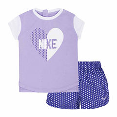 Nike Infant Girl Heart Tee and Short Set