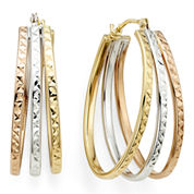 Diamond-Cut Tri-Color 14K Gold Triple-Fan Hoop Earrings