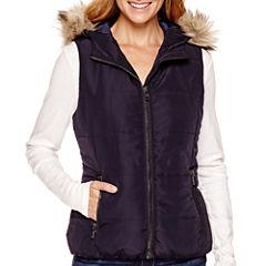 Liz Claiborne® Faux-Fur-Trim Quilted Vest