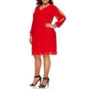 Alyx Long Split Sleeve Embellished Sheath Dress-Plus