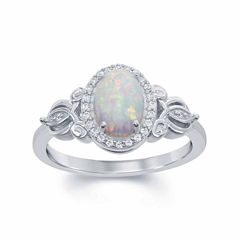 Enchanted By Disney Womens 1/10 CT. T.W. Opal Sterling Silver Cocktail Ring