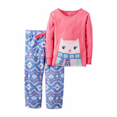 Carter's Girl Pink Owl 2pc Fleece 12-24M