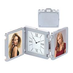 Natico Pearl Silver Suitcase Desk Clock and Frame