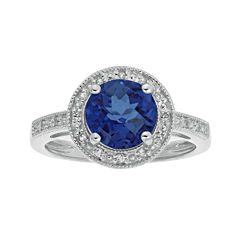 Lab-Created Blue and White Sapphire Round Sterling Silver Ring