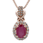 1/7 CT. T.W. Diamond and Lead Glass-Filled Ruby 10K Rose Gold Drop Pendant Necklace