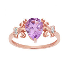 Genuine Amethyst and Diamond-Accent 10K Rose Gold Filigree Ring