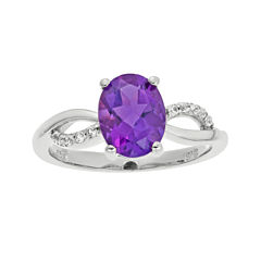 1/10 CT. T.W. Diamond and Genuine Amethyst Sterling Silver Ring