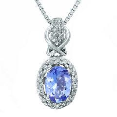 1/7 CT. T.W. Diamond and Genuine Tanzanite 10K White Gold Drop Pendant Necklace