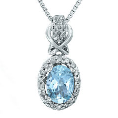 1/7 CT. T.W. Diamond and Genuine Aquamarine 10K White Gold Drop Pendant Necklace