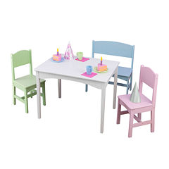 KidKraft® Nantucket Table, Bench and 2 Chairs Set - Pastel