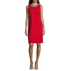 Liz Claiborne Sleeveless Embellished Sheath Dress-Petites
